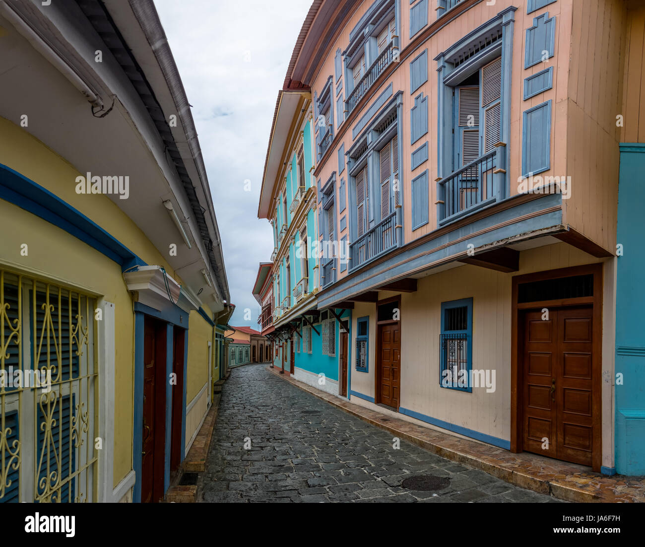Buildings of Las Penas District on the base of Santa Ana Hill - Guayaquil, Ecuador - Stock Image