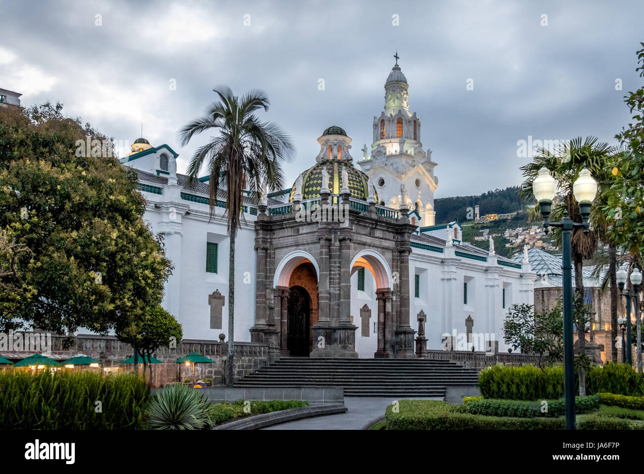 Plaza Grande and Metropolitan Cathedral - Quito, Ecuador - Stock Image