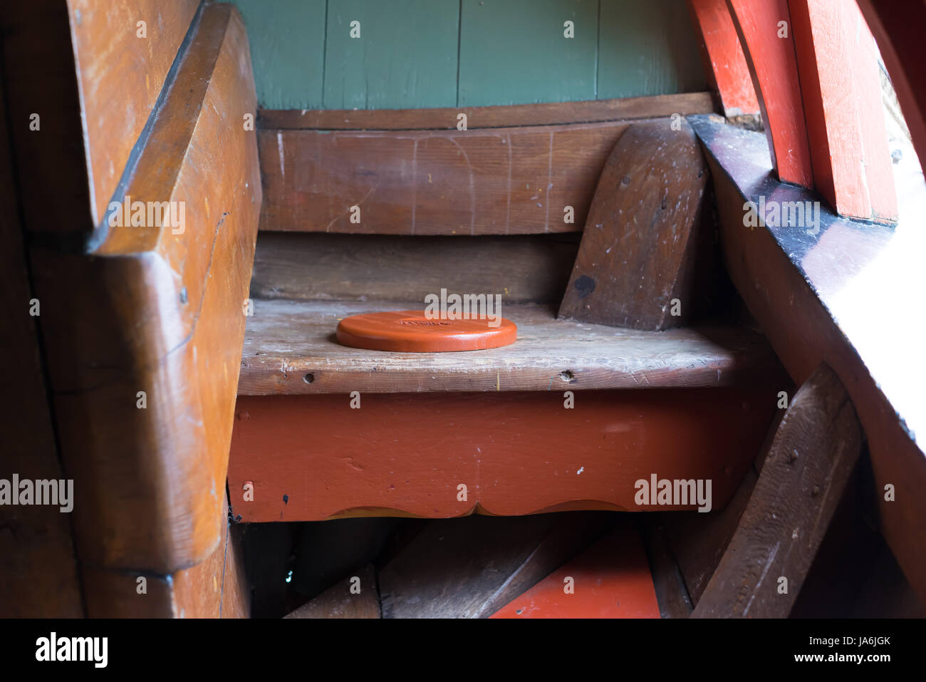 One of the rear toilets on board of the Batavia a replica 17th century Dutch Galleon - Stock Image