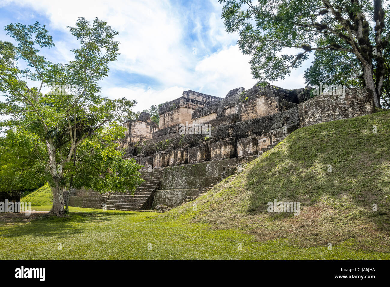Mayan Ruins at Tikal National Park - Guatemala - Stock Image