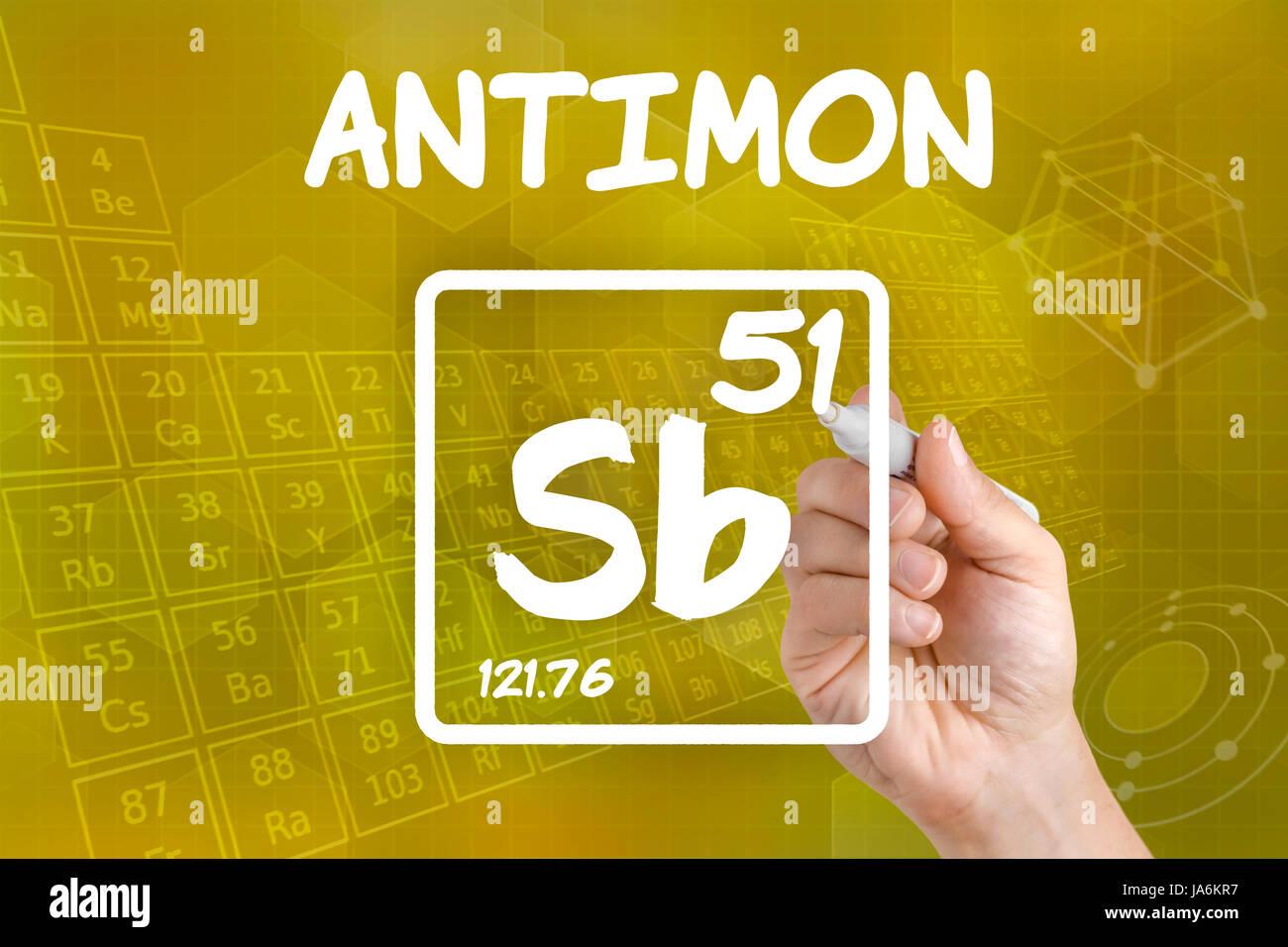 Symbol Of The Chemical Element Antimony Stock Photo 143976763 Alamy