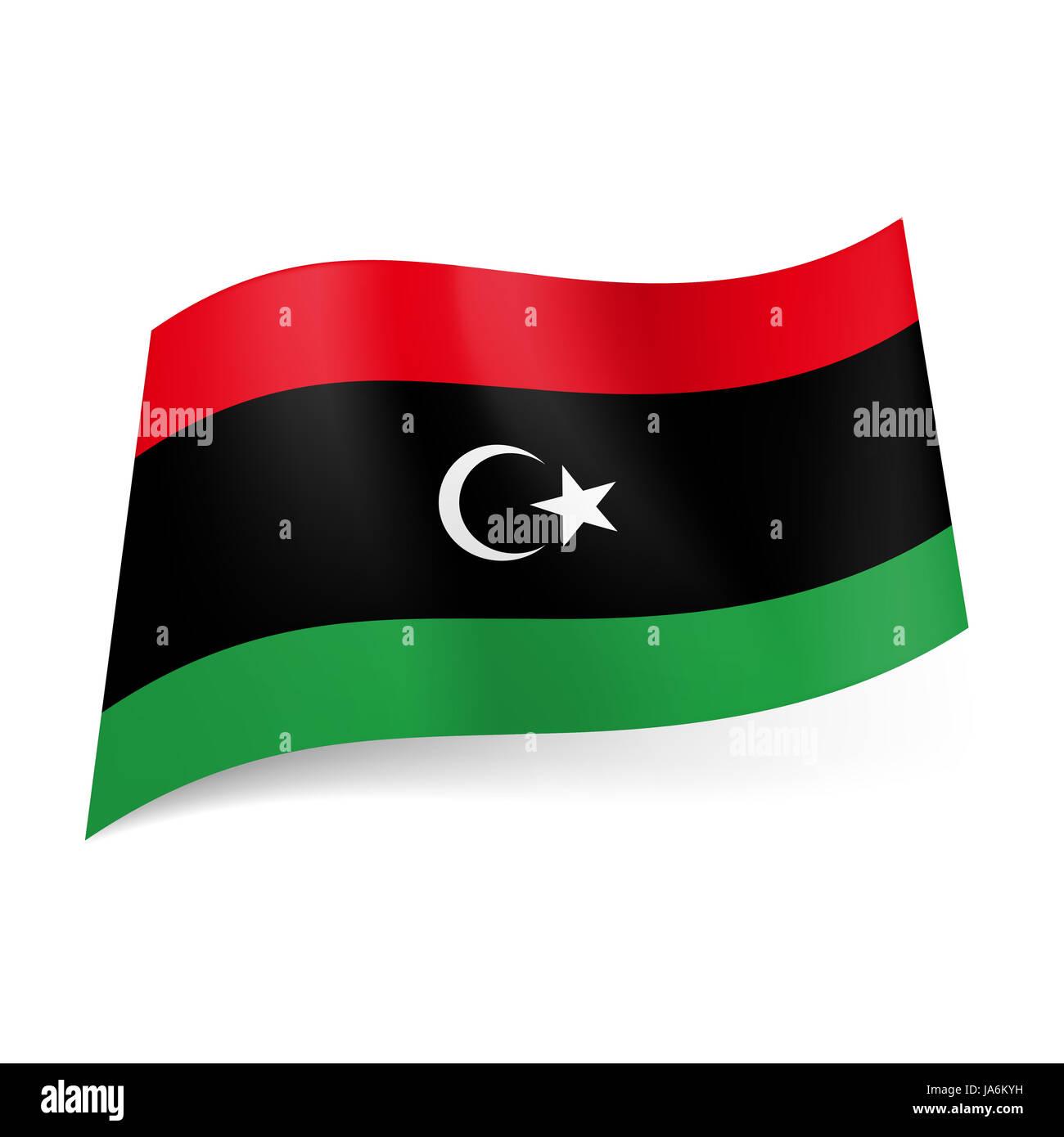 National Flag Of Libya Red Black And Green Horizontal Stripes
