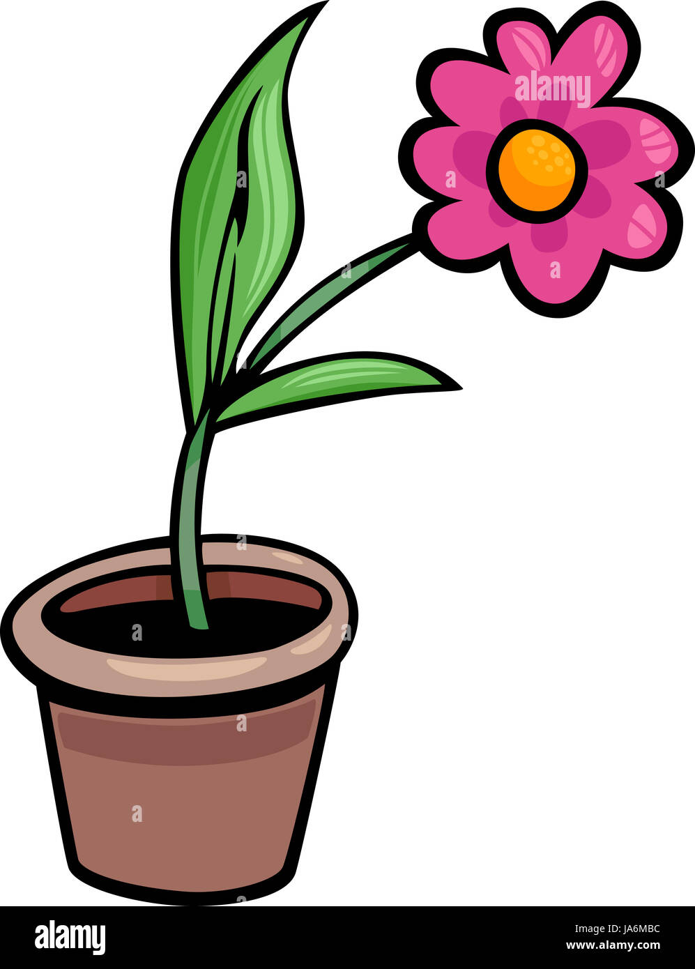cartoon illustration of flower in a pot clip art stock photo rh alamy com clipart pot de peinture pot clipart black and white