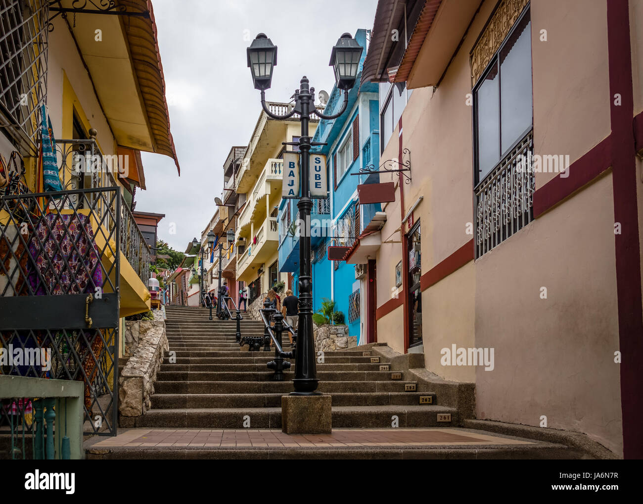 Buildings of Santa Ana Hill and its 444 stairs to the top - Guayaquil, Ecuador - Stock Image