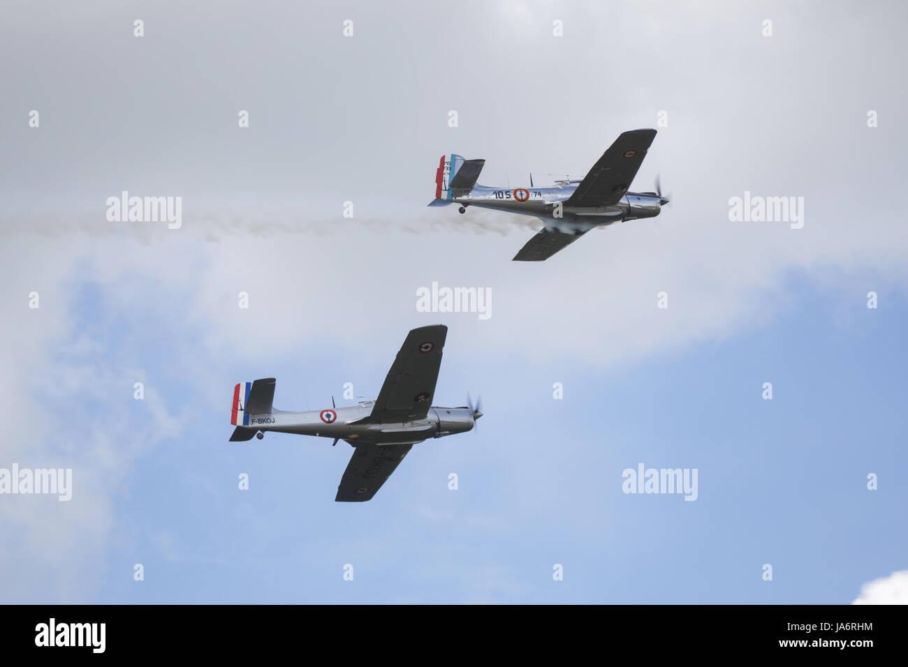 La Ferte Alais, France. 4th June, 2017. Morane-Saulnier Alcyons in the skies above the Aerodrome de Cerny, La Ferte - Stock Image