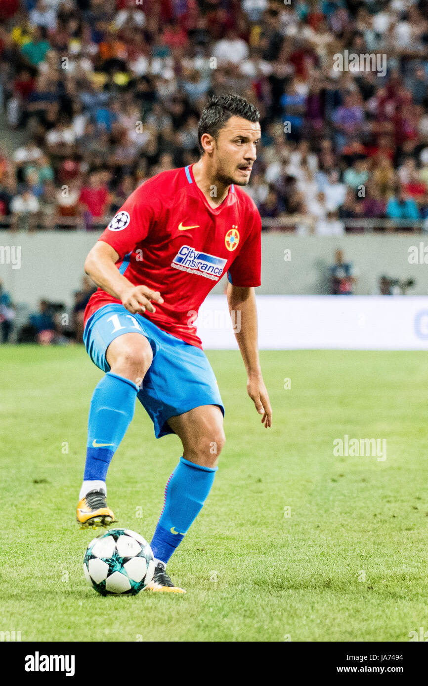 August 23, 2017: Constantin Budescu #11 of FCSB Bucharest   during the UEFA Champions League 2017-2018, Play-Offs - Stock Image