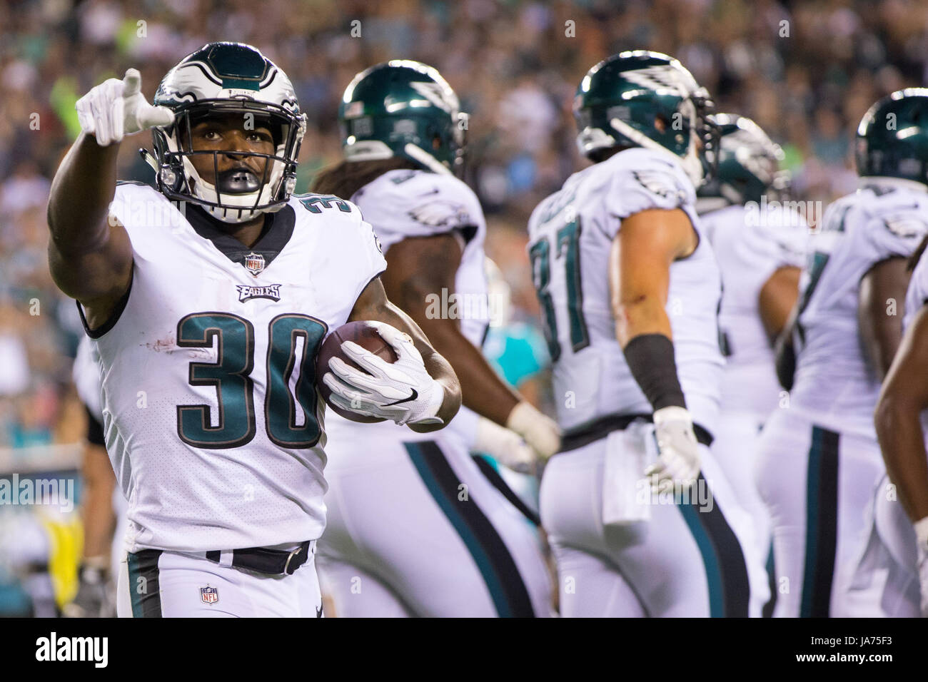 August 24, 2017: Philadelphia Eagles running back Corey Clement (30) reacts to his touchdown during the NFL preseason - Stock Image