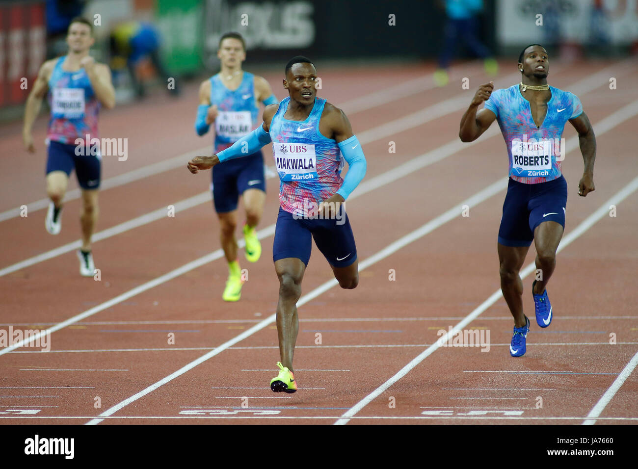 Zurich, Switzerland. 24th Aug, 2017. Isaac Makwala (2nd R) of Botswana competes during the men's 400m final - Stock Image