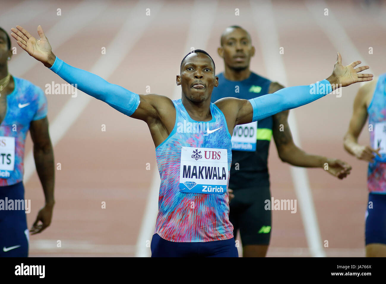 Zurich, Switzerland. 24th Aug, 2017. Isaac Makwala (front) of Botswana celebrates after the men's 400m final - Stock Image