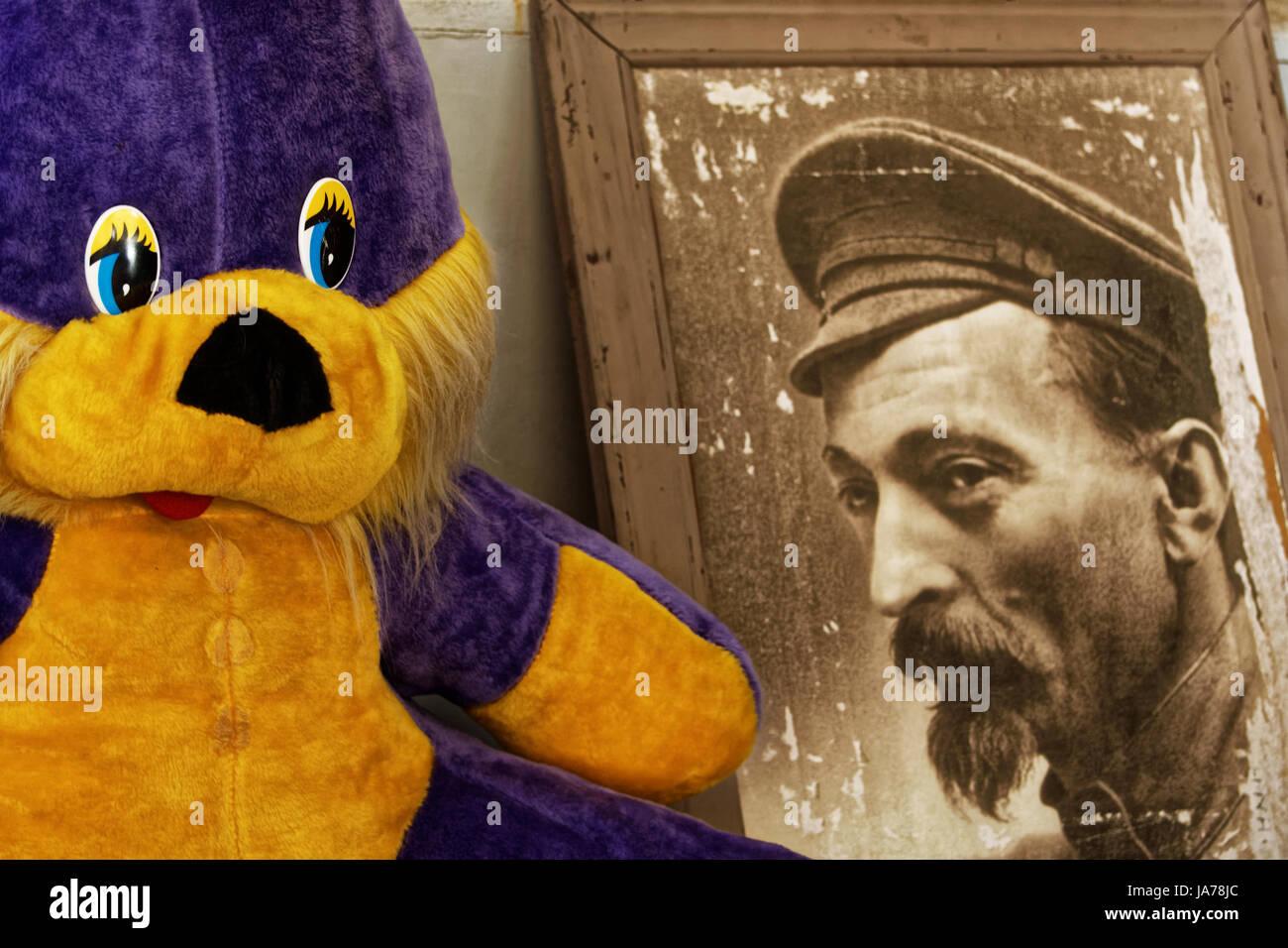 Photo soft rabbit toys, Portrait  Dzerzhinsky - Stock Image
