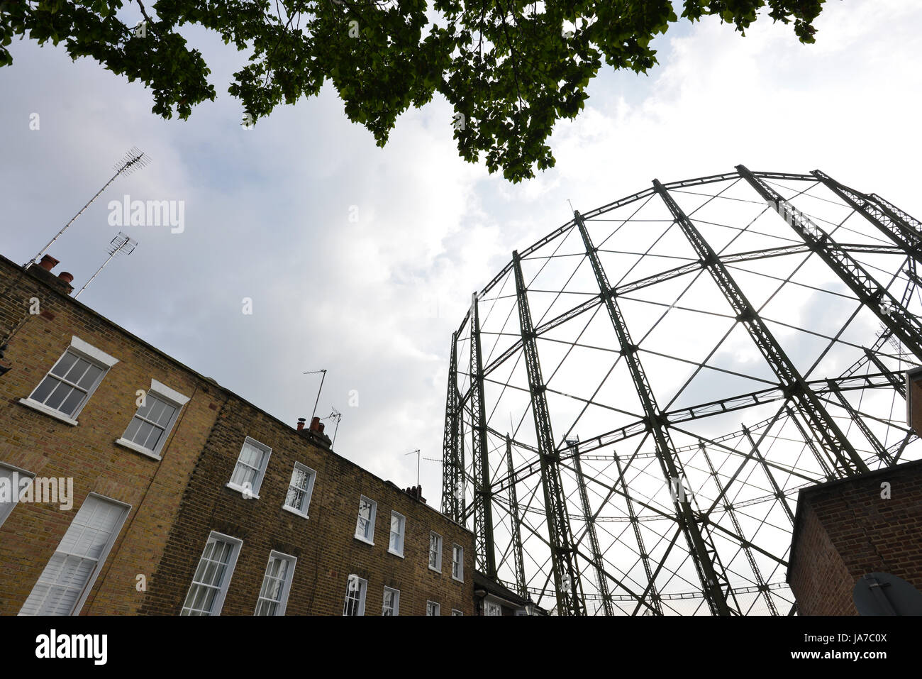 Frame of the iconic disused Oval Gas holder, London Stock