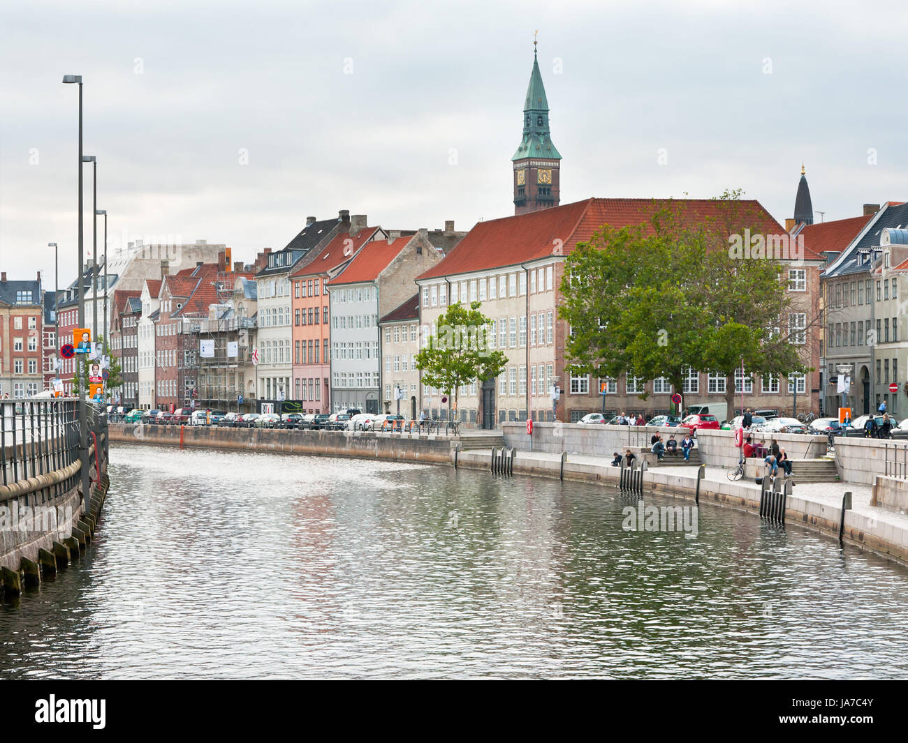 COPENHAGEN - SEPTEMBER, 10: Frederiksholms Kanal and view on Town Hall tower. The canal was natural border of first - Stock Image