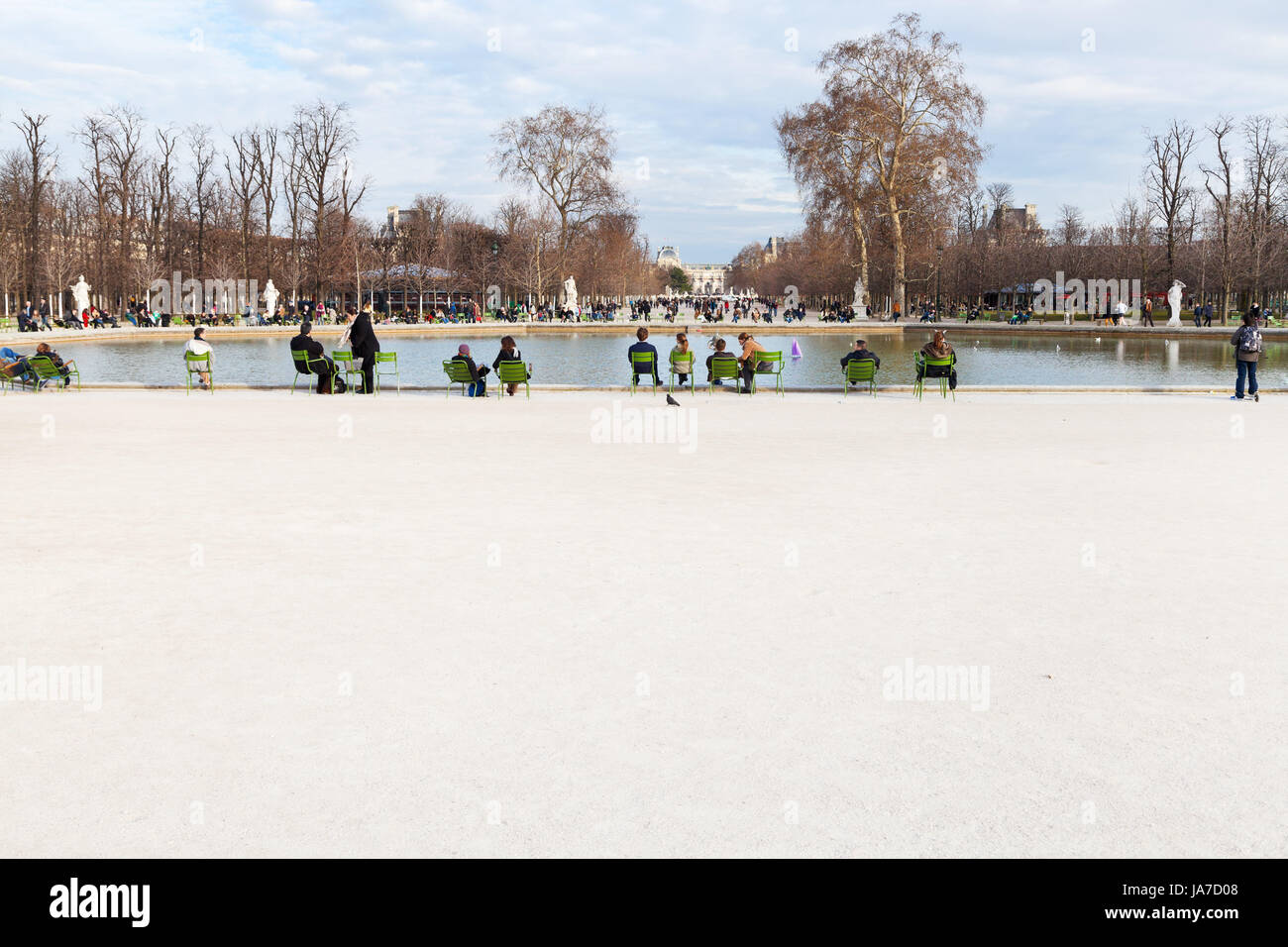 PARIS, FRANCE - MARCH 5: Grand Basin Octagonal in Tuileries Garden. In 1664 landscape architect Andre Le Notre redesigned - Stock Image