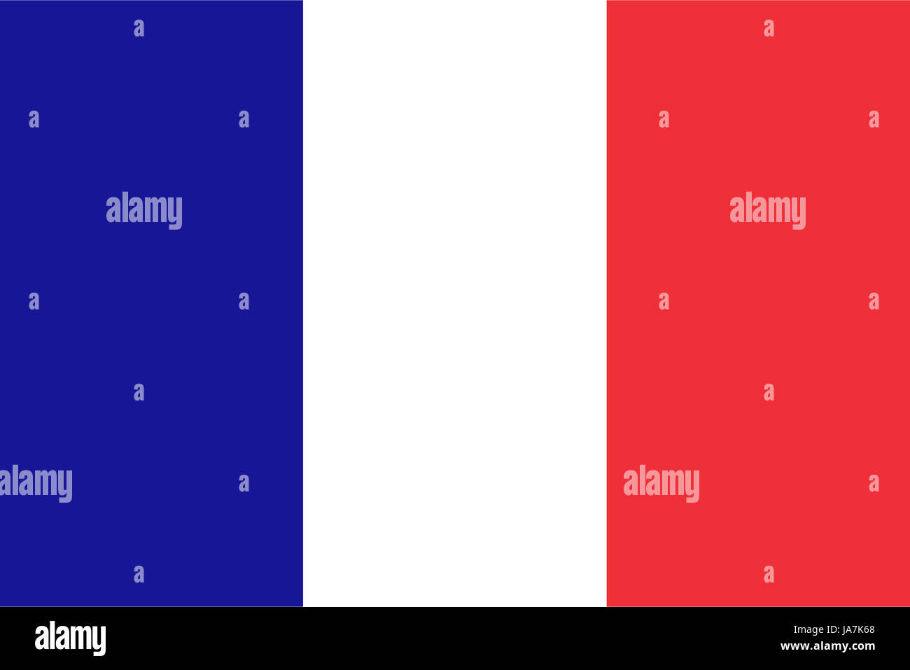 Official French flag of France - Proportions: 3:2 - Colours: Reflex Blue, Safe white, Red 032 - Stock Image