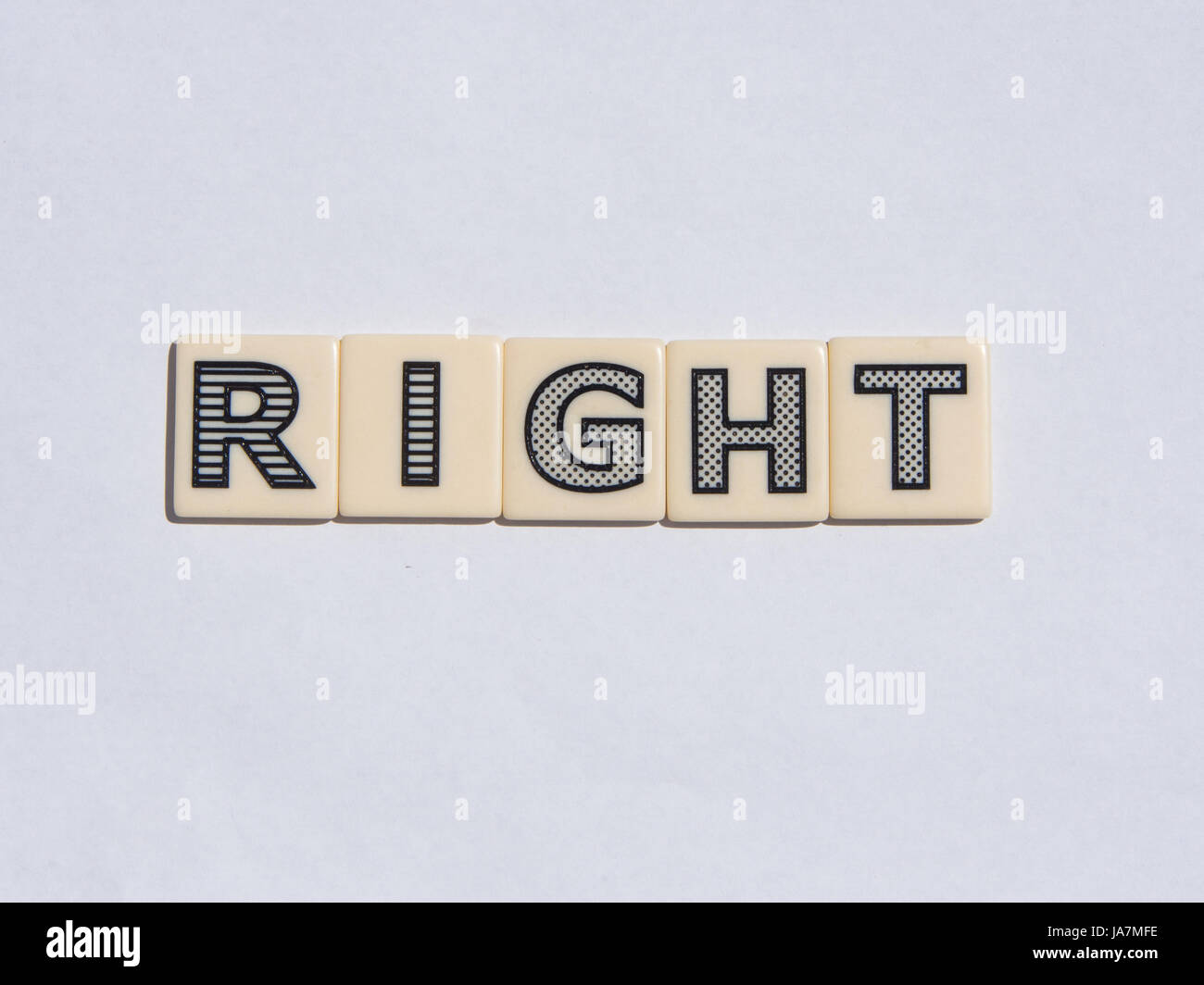 Letter tiles spelling out the word Right - Stock Image