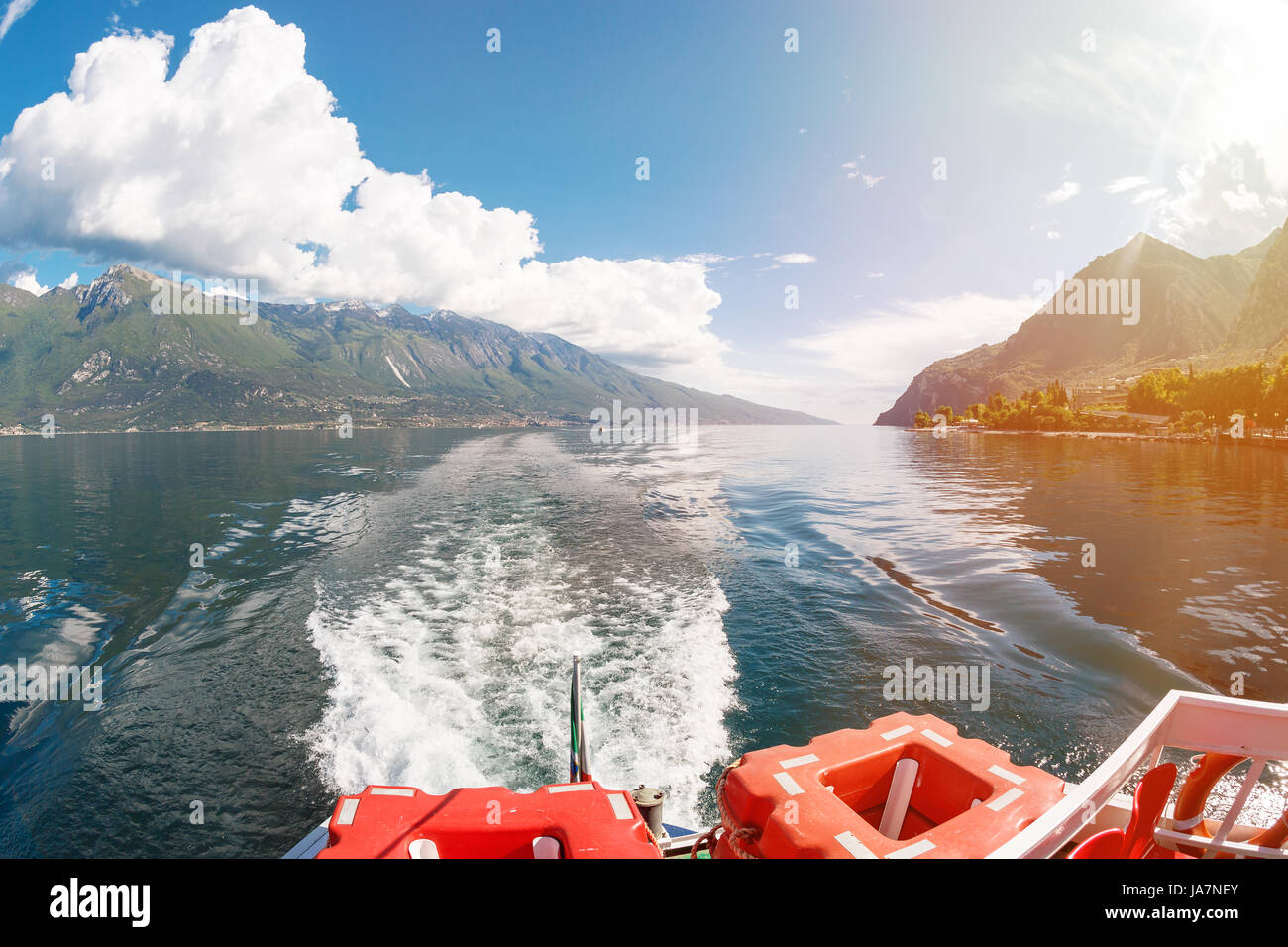 Lake Garda is the largest lake in Italy. It is located in Northern Italy, about half-way between Brescia and Verona, - Stock Image
