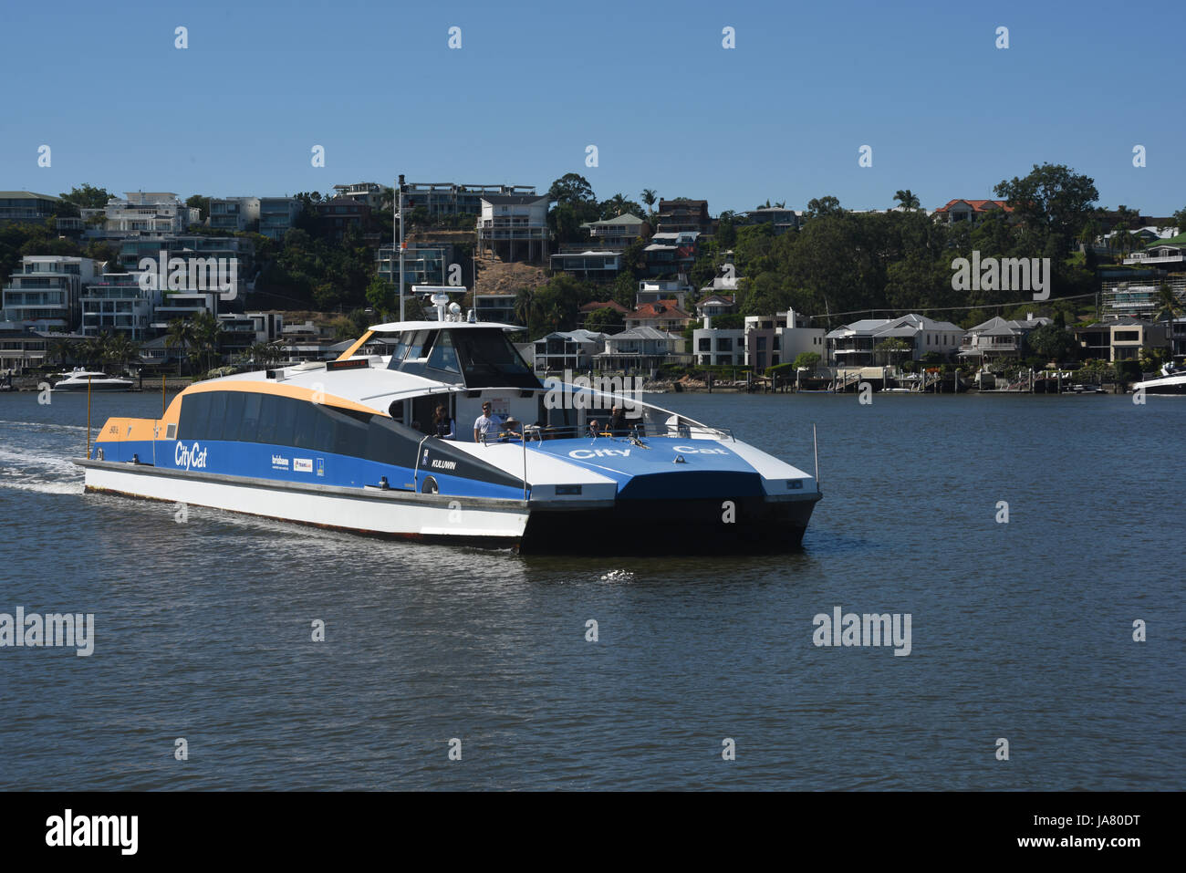 Brisbane, Australia: CityCat passenger ferry approaching New Farm Wharf on the Brisbane River - Stock Image