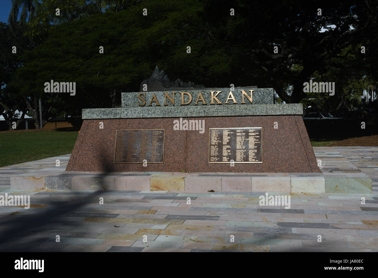 New Farm Park, Brisbane, Australia: Memorial to the victims of the Sandakan Death March in World War 2 - Stock Image