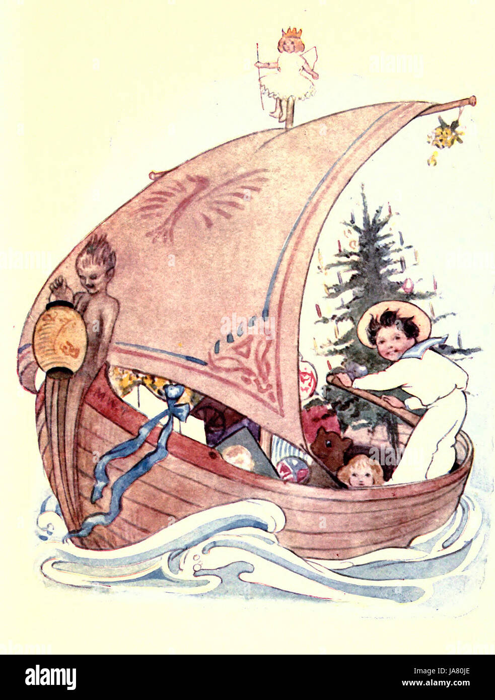 I saw a ship a sailing, a sailing on the sea; and oh it was all laden with pretty things for thee - Stock Image