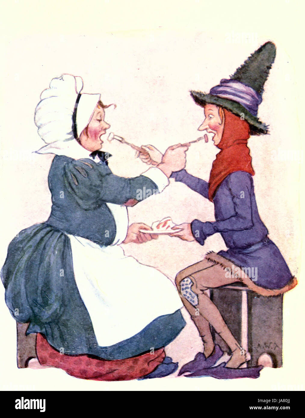Jack Sprat could eat no fat, his wife could eat no lean - Nursery Rhyme - Stock Image