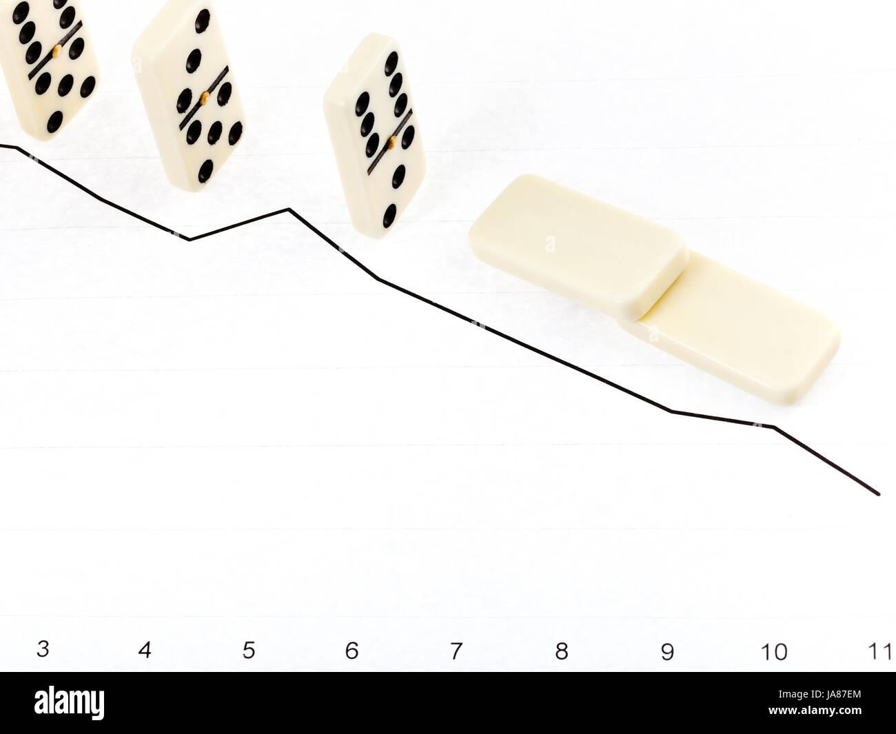 Business Concept Fallen Domino Graph Stock Photos Business