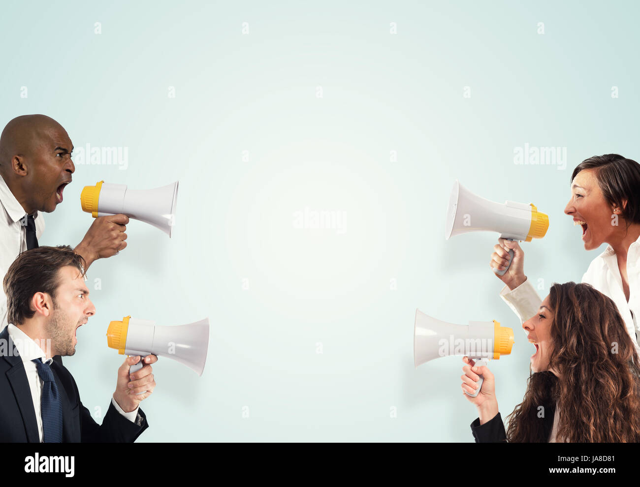 Stress concept with screaming businesspeople. men versus women Stock Photo