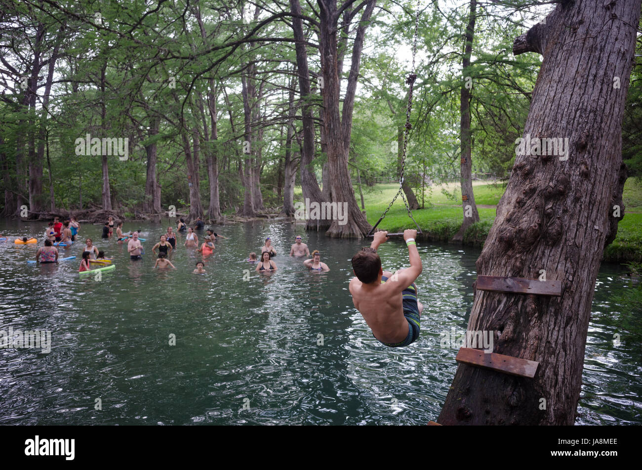 Swimmers at Blue Hole Regional Park in Wimberley, Texas - Stock Image