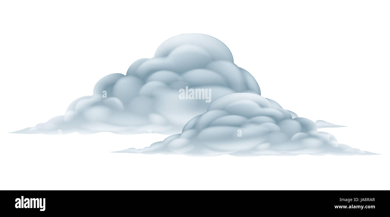 An illustration of a big fluffy pair of clouds - Stock Image