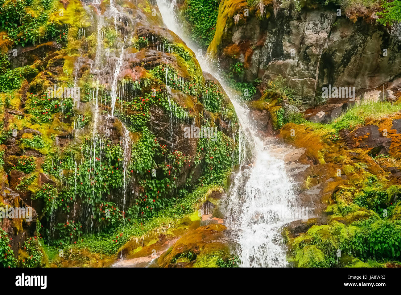 Small waterfall near Mount Fitz Roy in Argentinian Patagonia - Stock Image