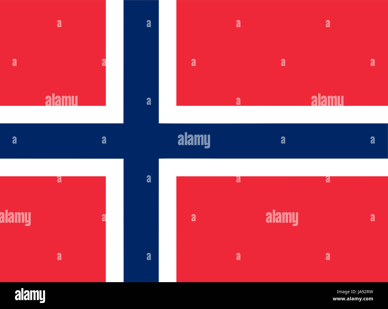 Norwegian flag of Norway - Proportions: 22:16 - Colours: Red PMS 032 U, Blue PMS 281 U, White - Stock Image