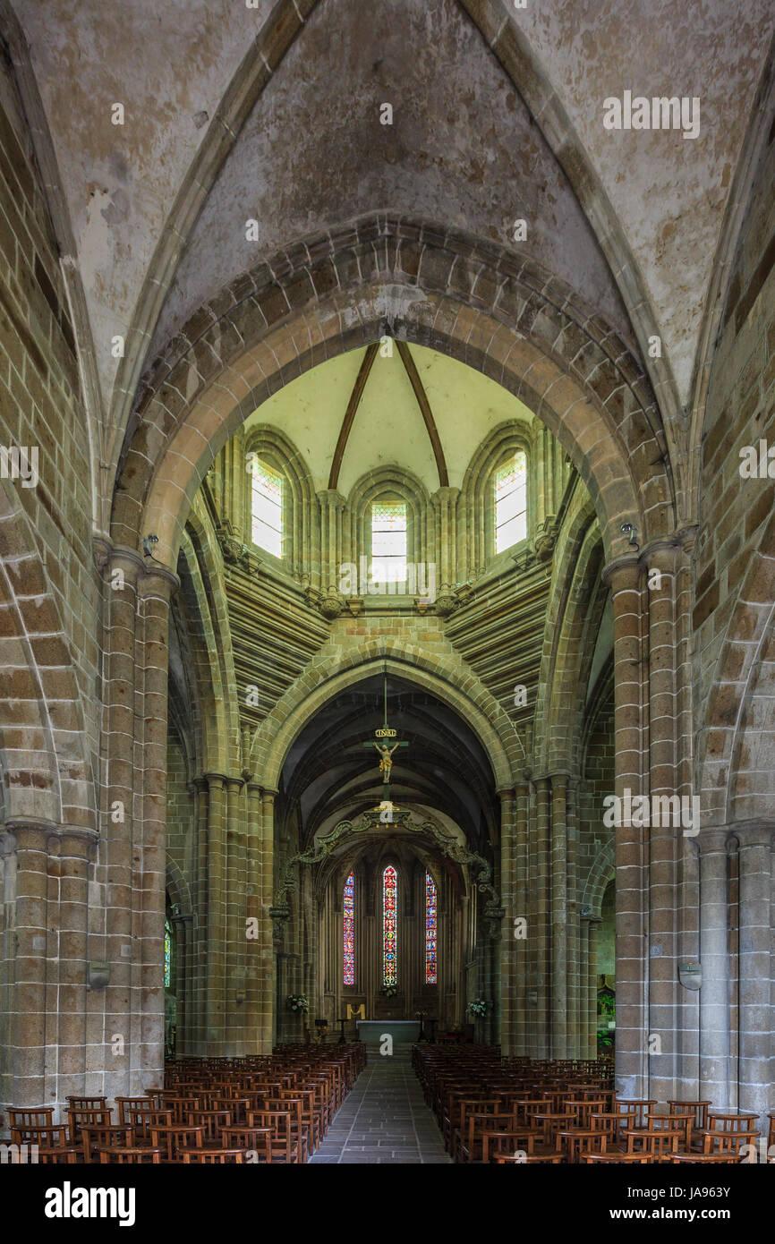 France, Calvados, Saint Sever Calvados, the church Notre-Dame-de-Saint-Sever, the nave - Stock Image