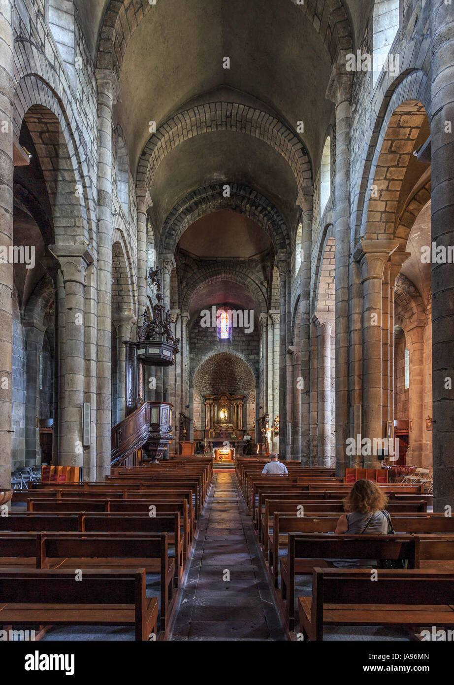 France, Cantal, Mauriac, Notre Dame des Miracles  church, the nave - Stock Image