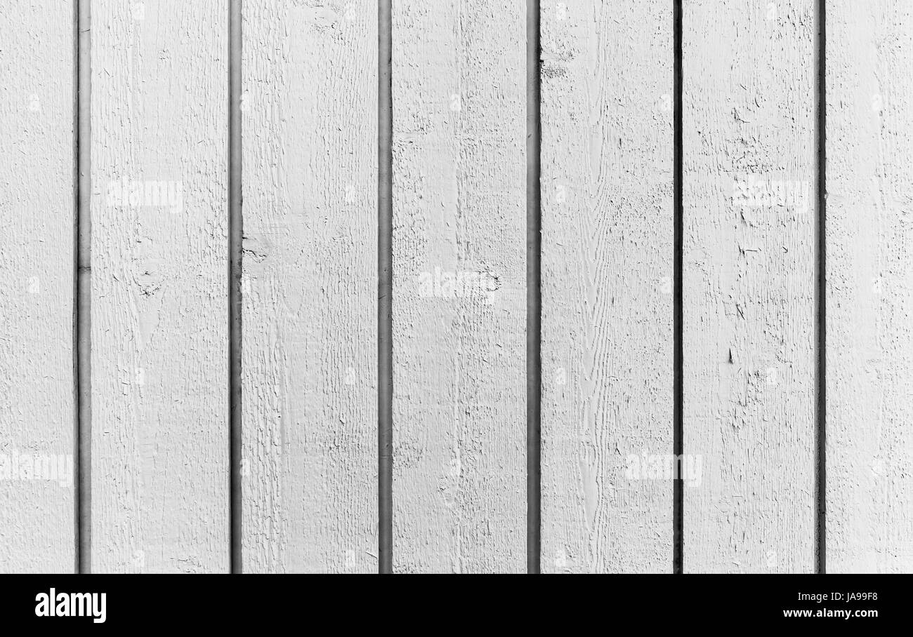 Natural white wooden wall made of planks, flat background photo texture - Stock Image