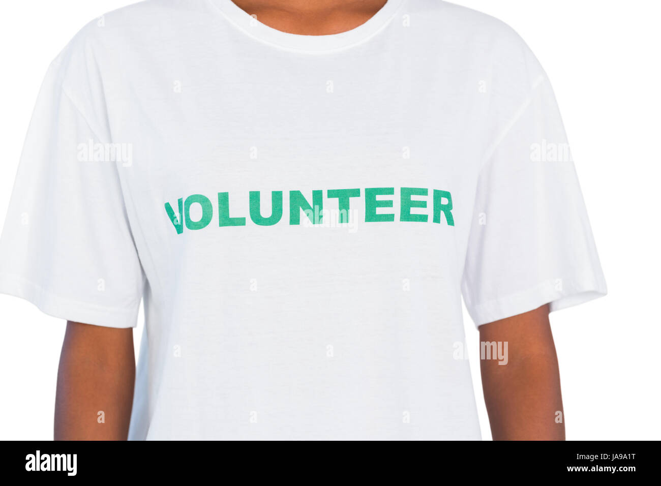 Woman wearing volunteer tshirt on white background - Stock Image