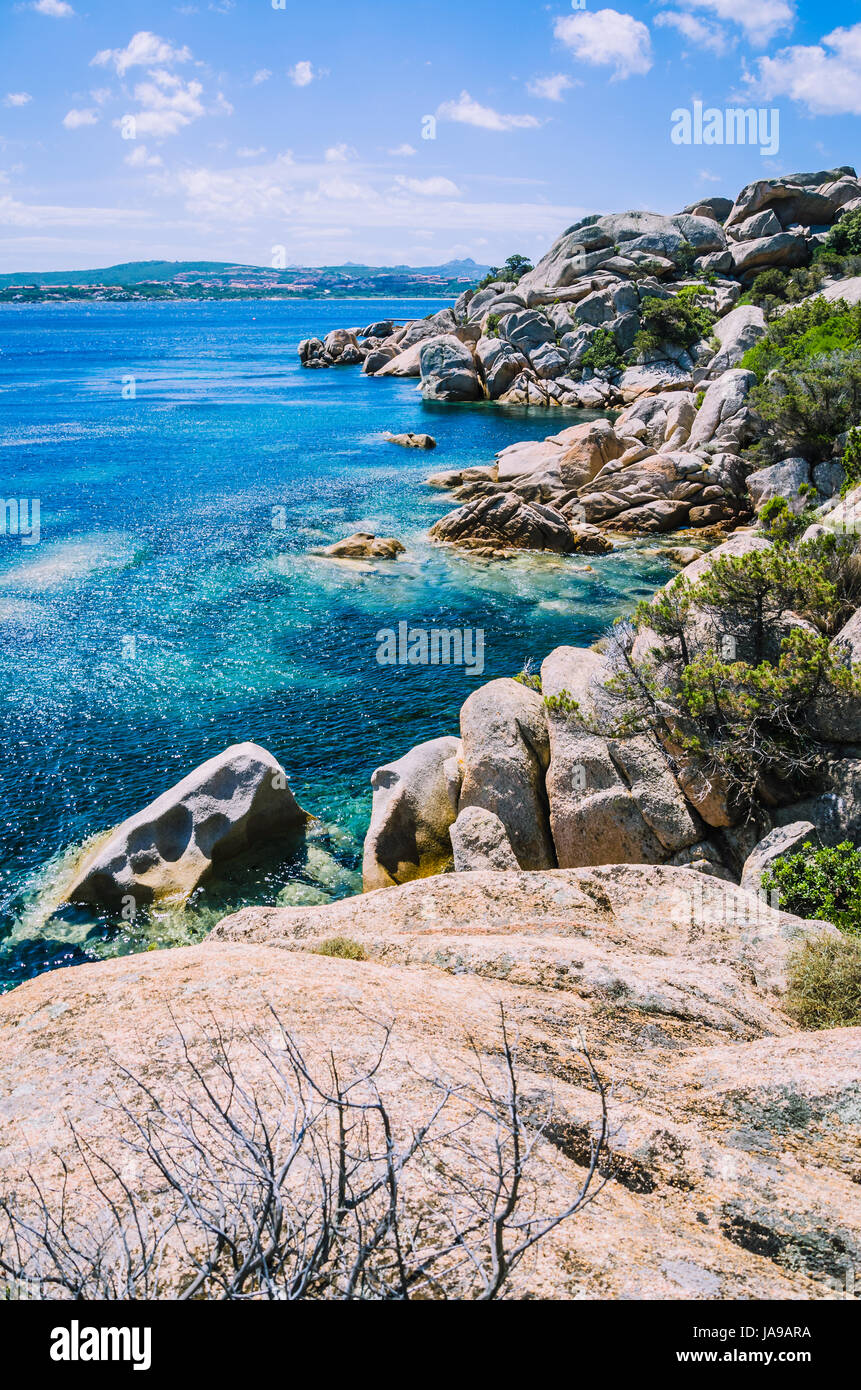Bizarre granite rocks formation and clear azure sea on beautiful Sardinia island, Sargedna, Italy - Stock Image