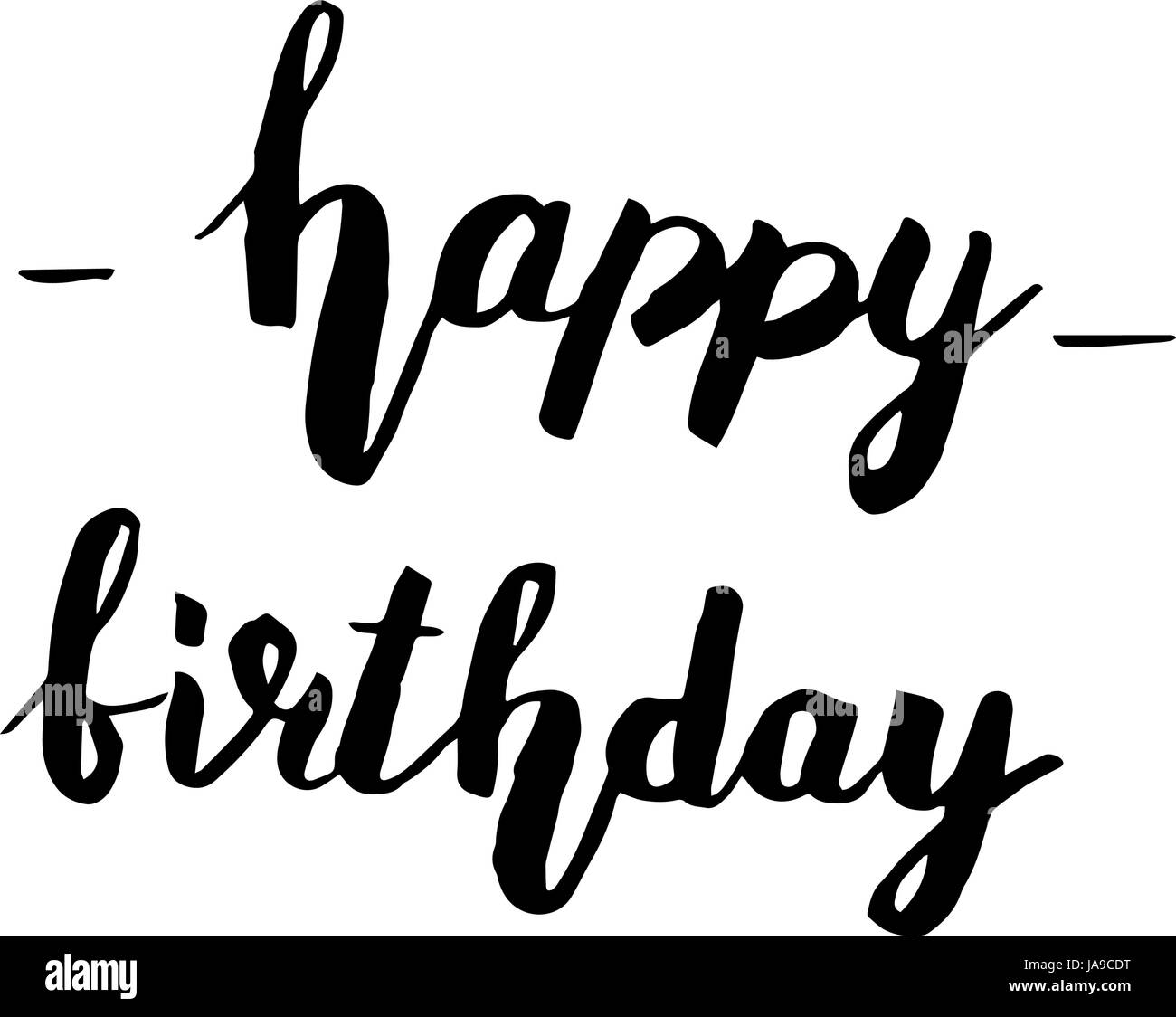 Happy birthday lettering. Holiday text and decorations ...