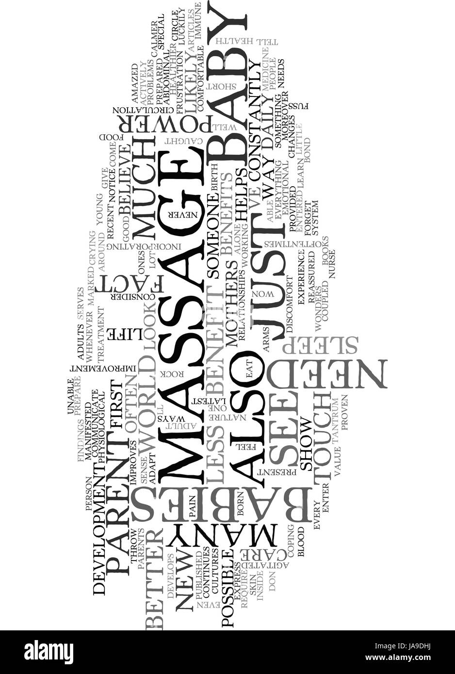 BENEFITS OF A BABY MASSAGE TEXT WORD CLOUD CONCEPT - Stock Vector