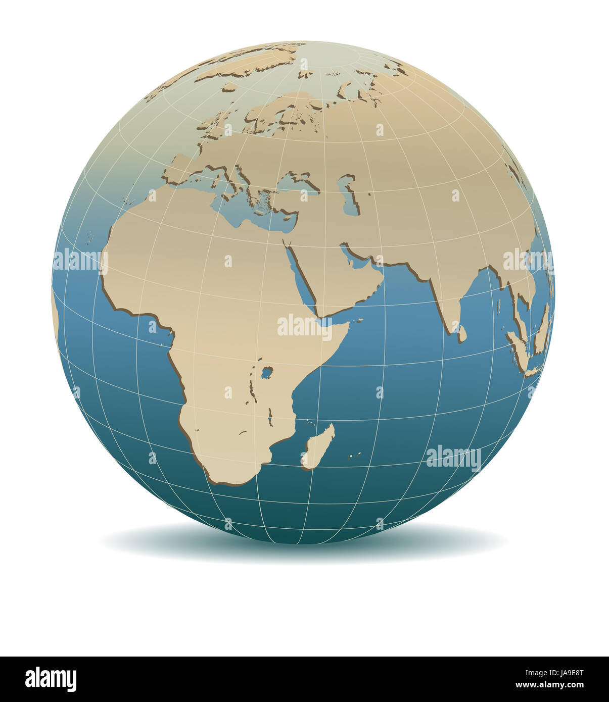 Retro Style Africa, Middle East, Arabia and India Global World, Elements of this image furnished by NASA - Stock Image