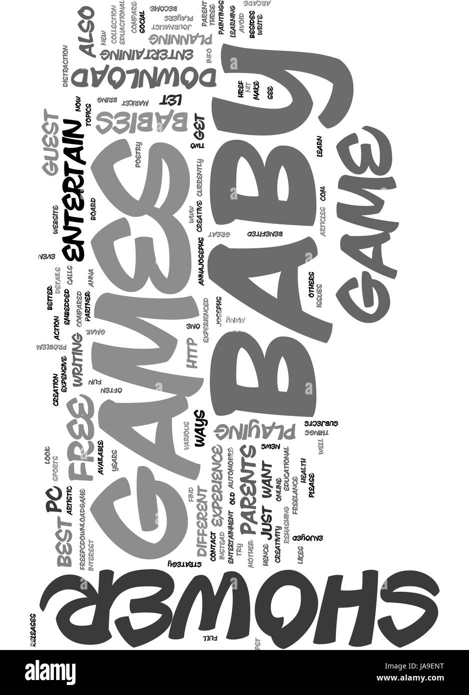 BEST BABY SHOWER GAMES TEXT WORD CLOUD CONCEPT - Stock Image