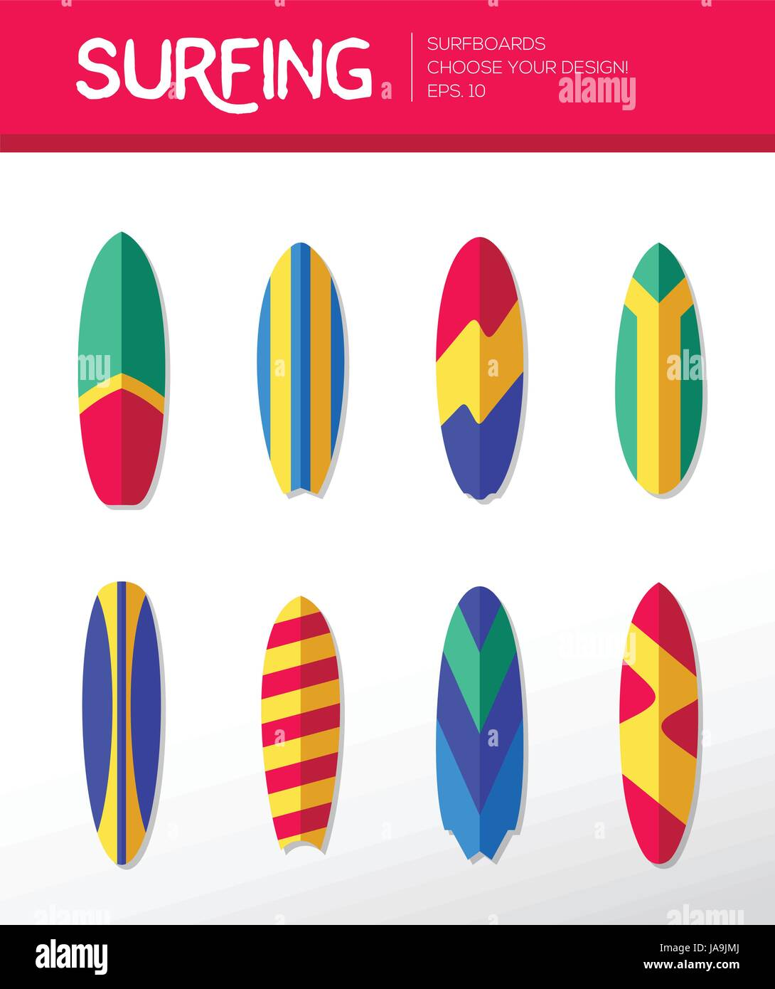 Surfing Boards - modern vector flat design icons set. - Stock Vector