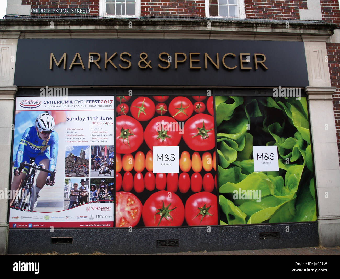 Marks & Spencer signage and window branding showing full colour digital prints - Stock Image