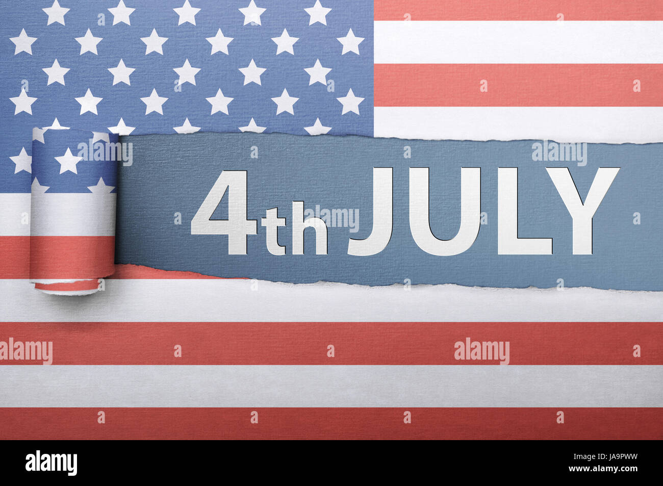 Ripped american flag paper with fourth 4th of july greetings over ripped american flag paper with fourth 4th of july greetings over blue background m4hsunfo