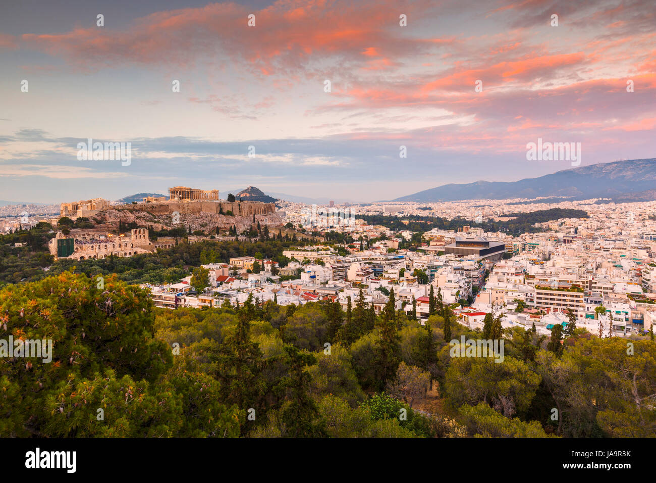 Acropolis and view of the city of Athens, Greece. Stock Photo