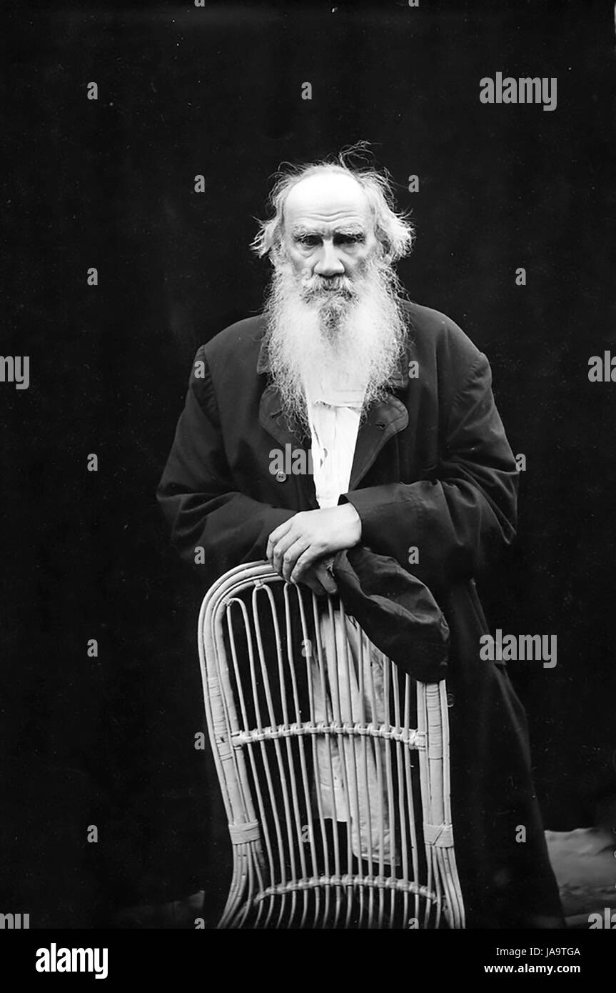 LEO TOLSTOY (1828-1910) Russian writer about 1908. Photo: Karl Bulla - Stock Image