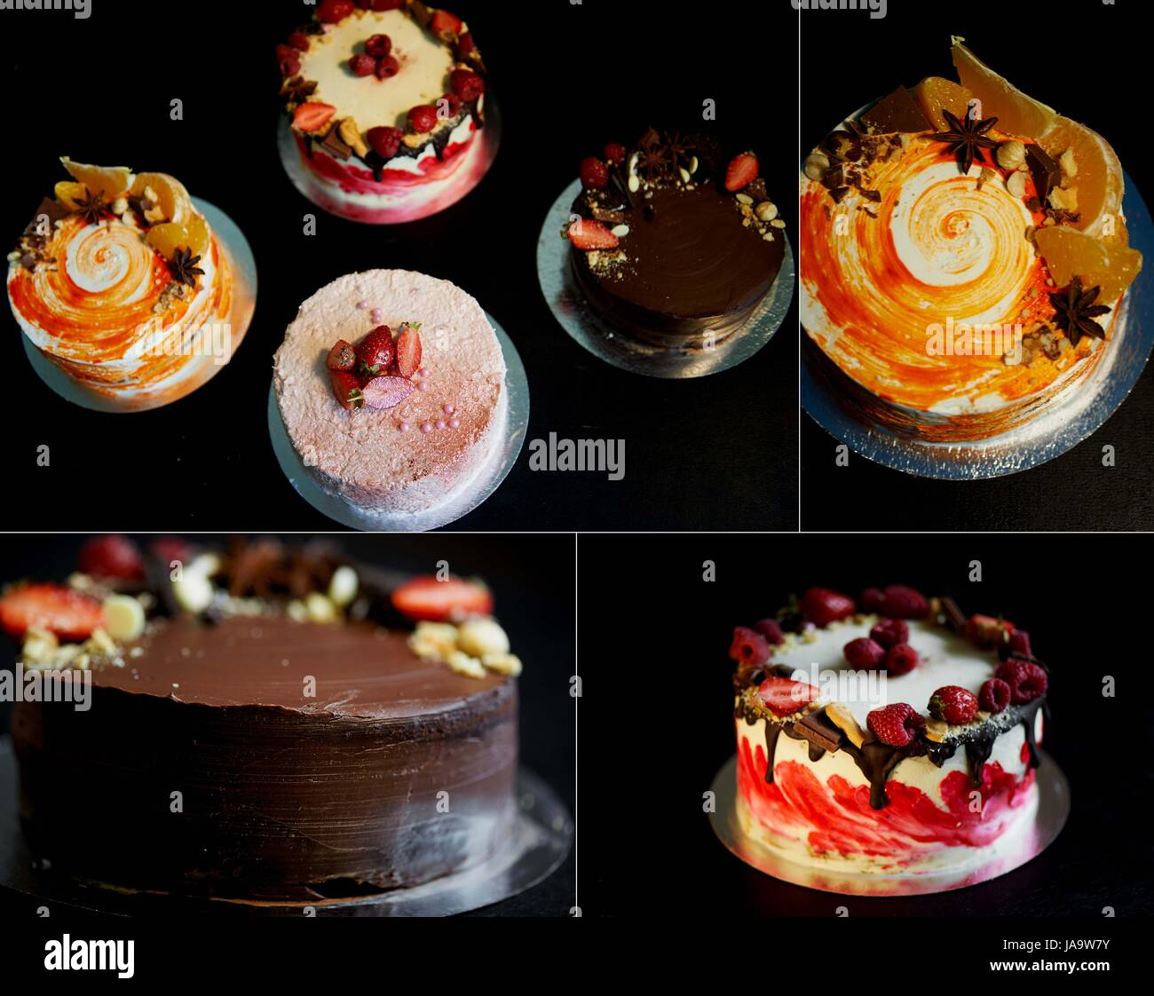 A collage of beautiful and delicious sweets. Cakes . Works of culinary art - Stock Image