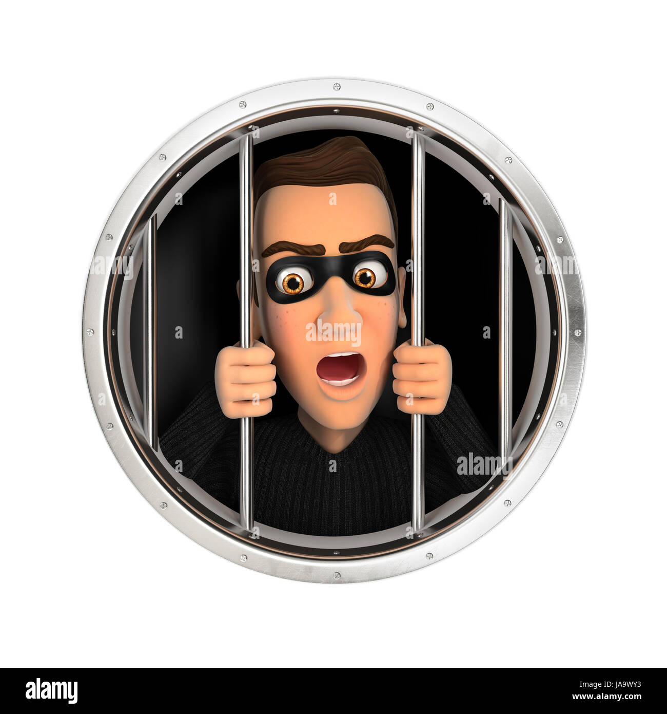 3d thief behind bars, illustration with isolated white background Stock Photo