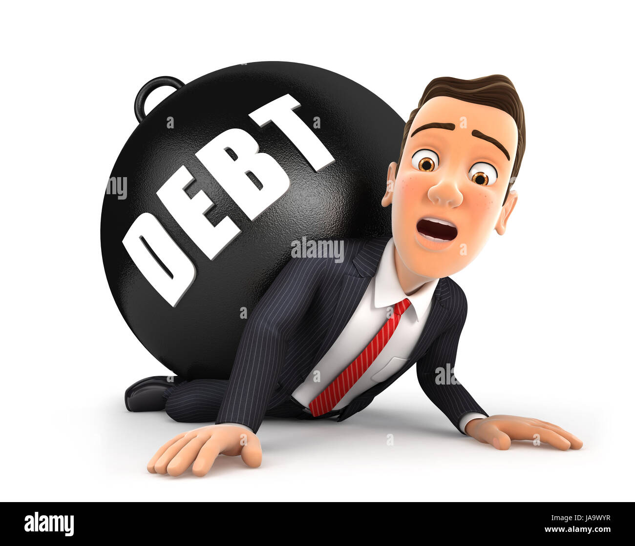 3d businessman crushing debt, illustration with isolated white background Stock Photo