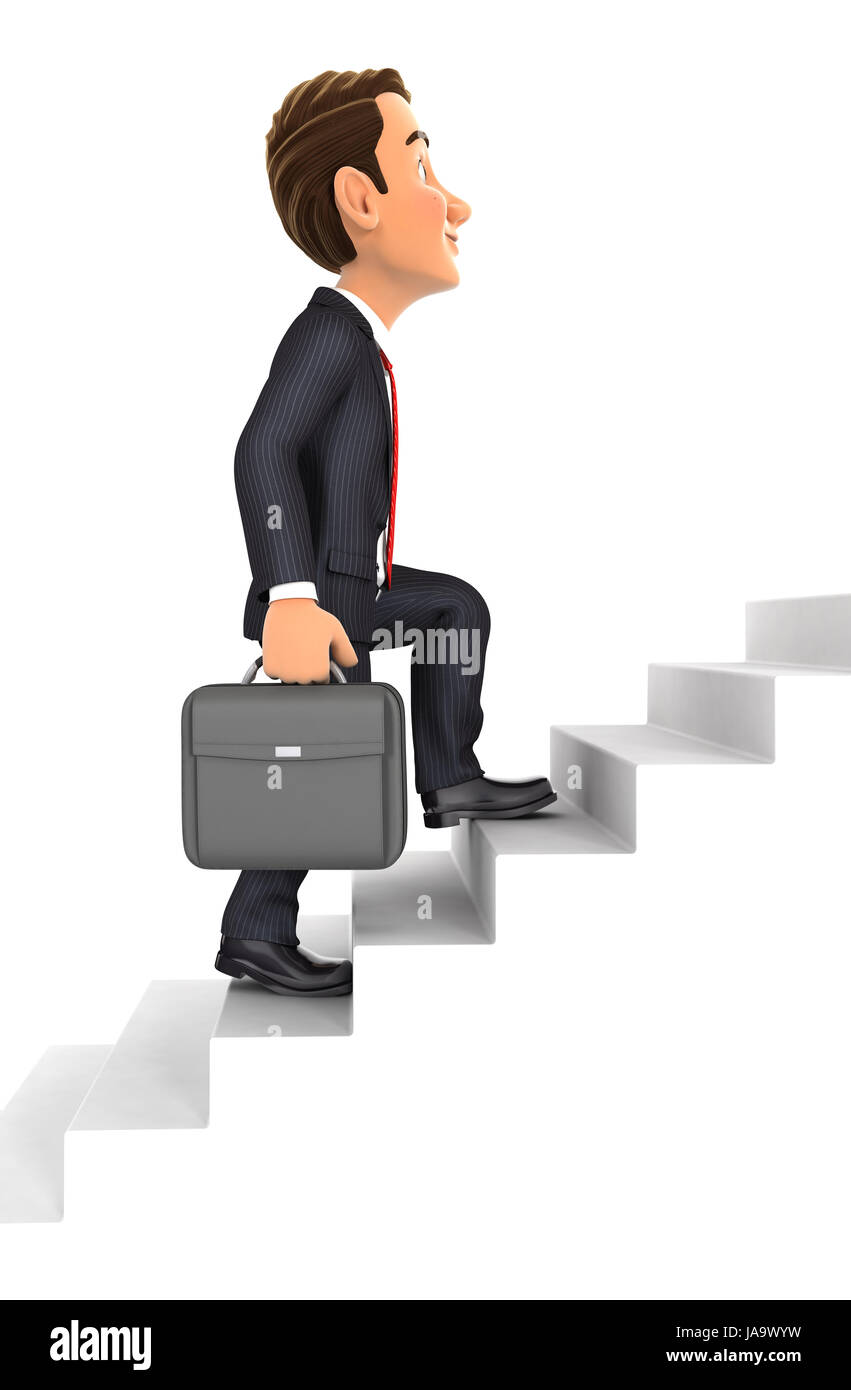 3d businessman going upstairs, illustration with isolated white background Stock Photo