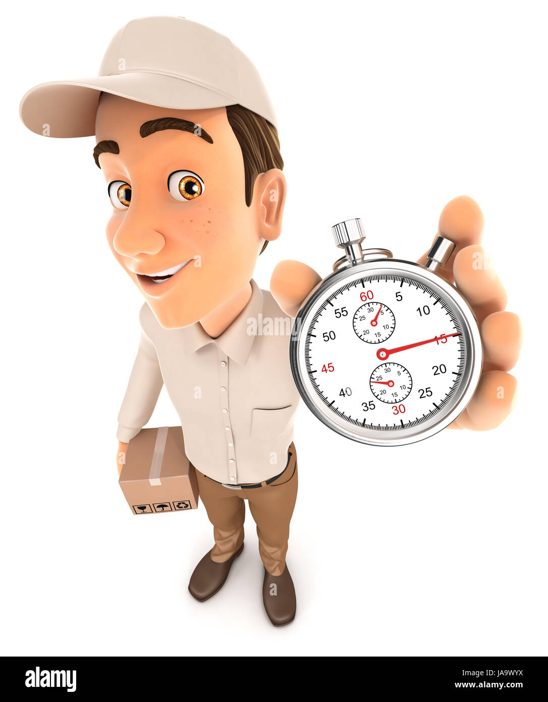 3d delivery man holding stopwatch, illustration with isolated white background Stock Photo