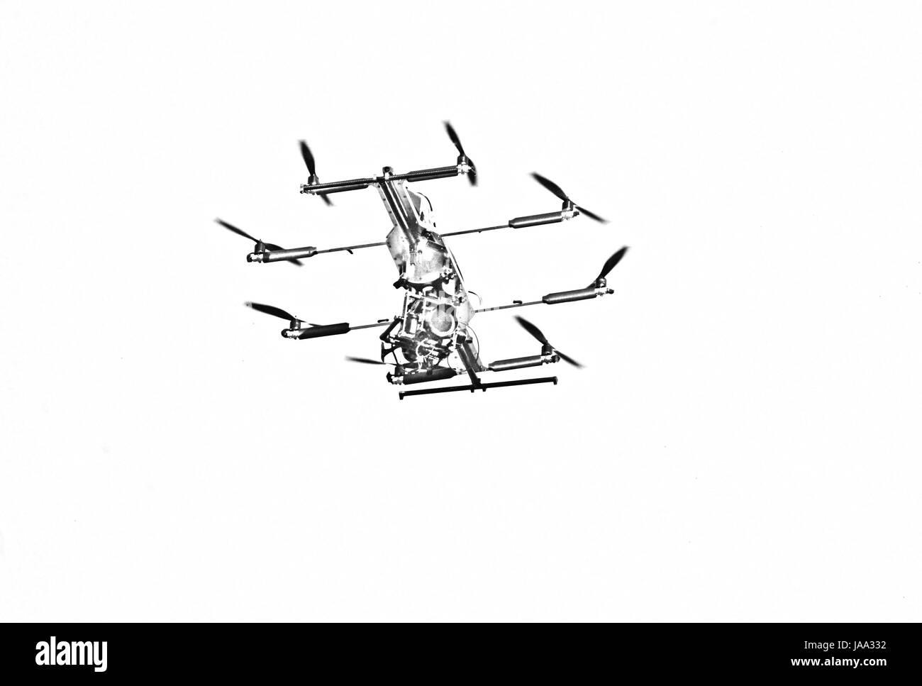 Drone Flight, Hamburg, Germany - Stock Image